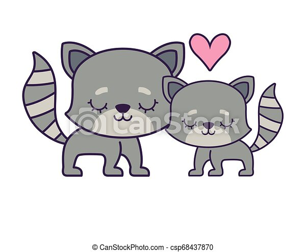 couple of cute cat animal isolated icon - csp68437870