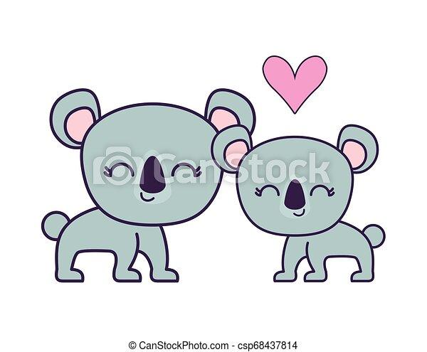 couple of cute koala animal isolated icon - csp68437814
