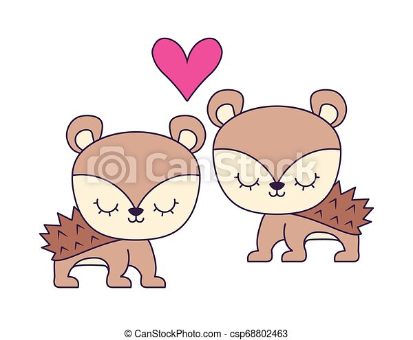 couple of cute porcupine animal isolated icon - csp68802463