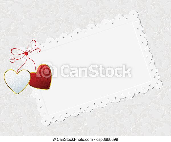 couple of hearts and congratulation card - csp8688699