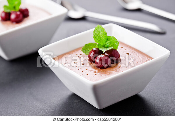 Couple Of Homemade Chocolate Mousse Cups - csp55842801