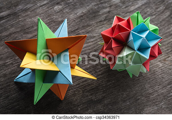 Couple Of Origami Star And Flower Kusudama Origami On The Textured
