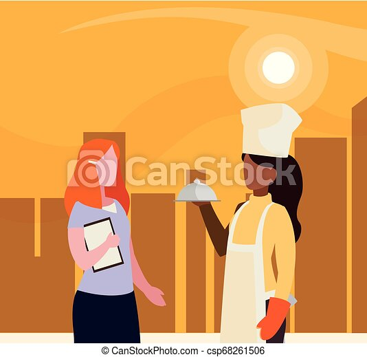 couple of professional workers in cityscape at sunset - csp68261506