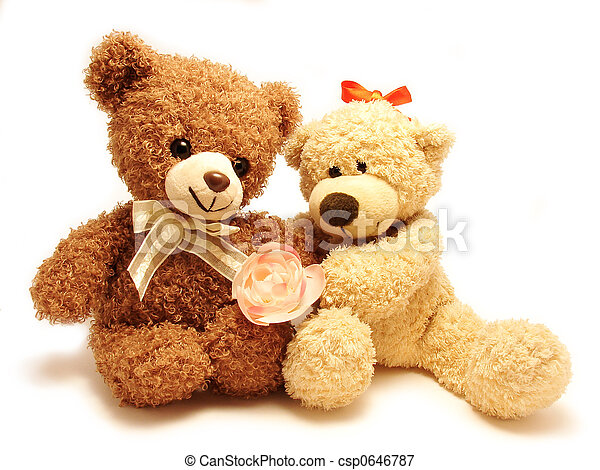 couple of teddy bears sitting together holding the rose