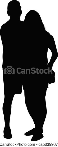 Couple of young people. Black silhouettes. - csp83990742