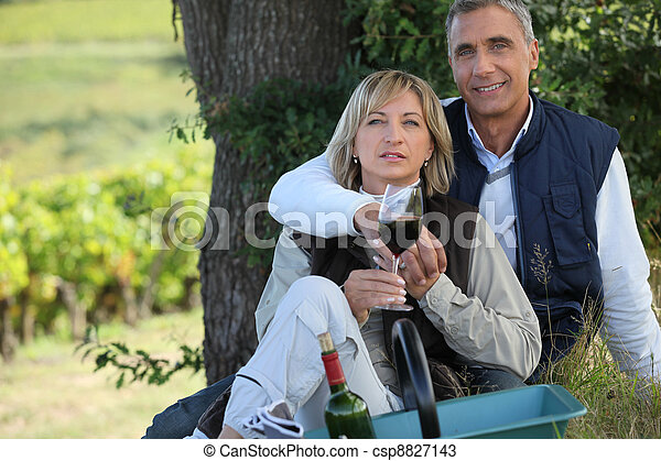 couple on a romantic picnic in a vineyard - csp8827143