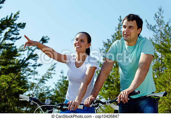 Couple on bicycles  - csp10426847