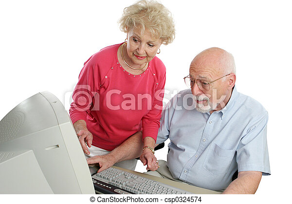 Couple On Computer - csp0324574
