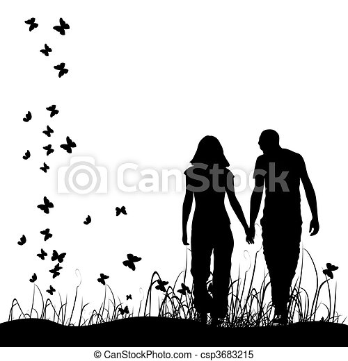 Couple on meadow, black silhouette - csp3683215