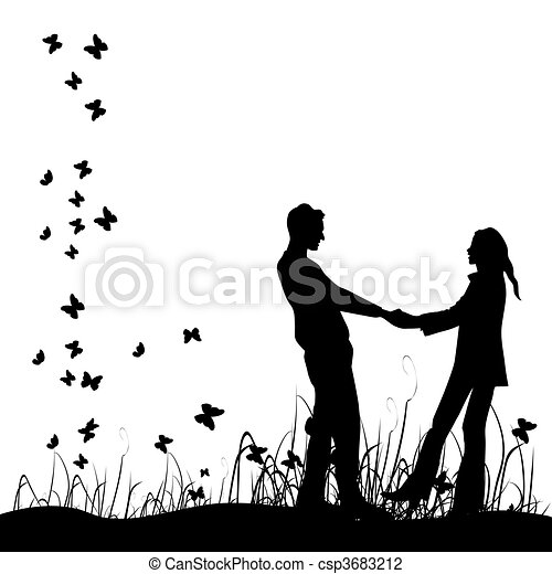 Couple on meadow, black silhouette - csp3683212