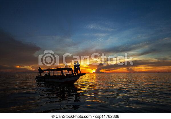 Couple on sunset - csp11782886