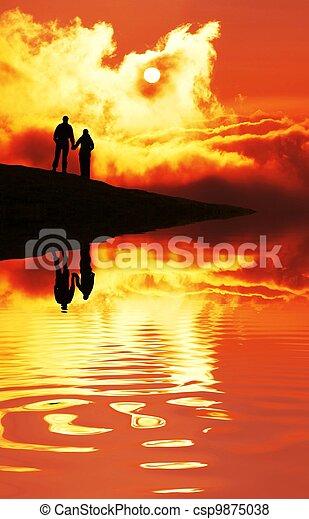 Couple on sunset - csp9875038