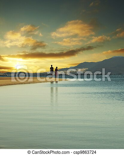 Couple on sunset - csp9863724