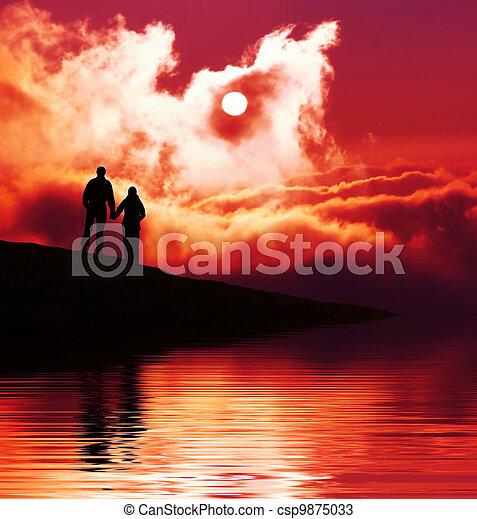 Couple on sunset - csp9875033