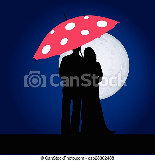 couple on the moonlight vector - csp28302488