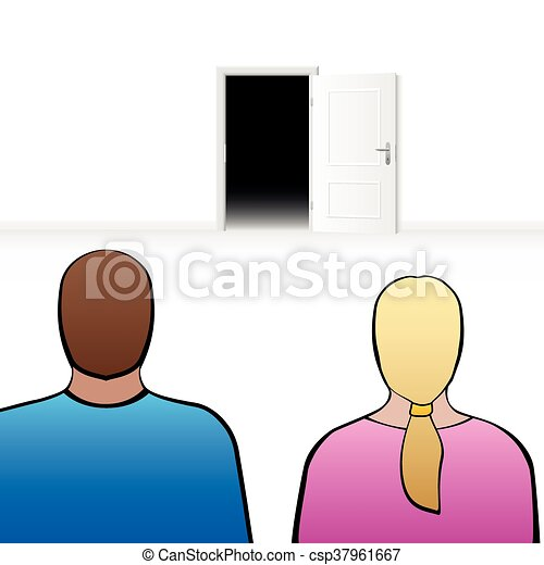 Couple Open Door Couple Looking At An Open Door As A Symbol For