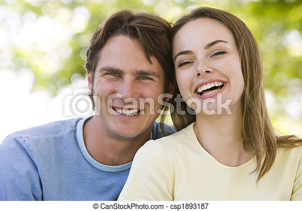 Couple outdoors smiling - csp1893187