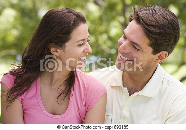 Couple outdoors smiling - csp1893185