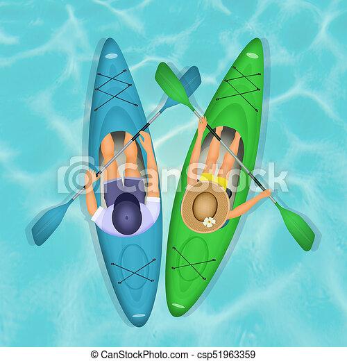 illustration of couple paddling in kayak