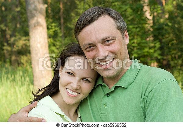 couple, parc, heureux - csp5969552