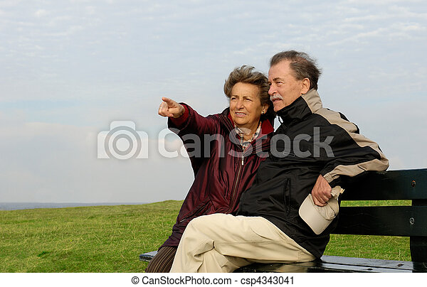 couple, parc, personne agee, banc - csp4343041