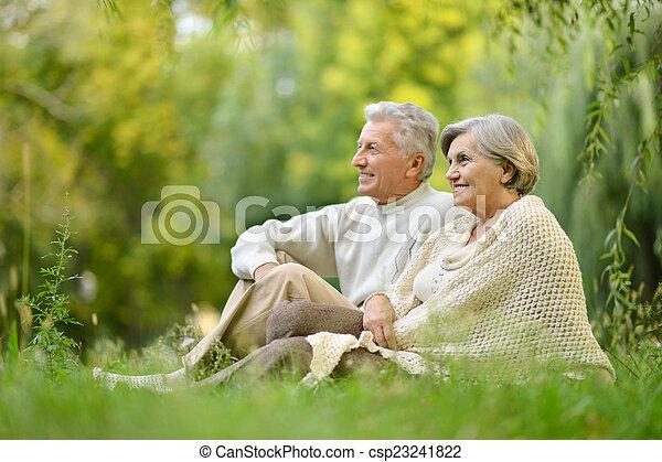 couple, parc, personnes agées - csp23241822