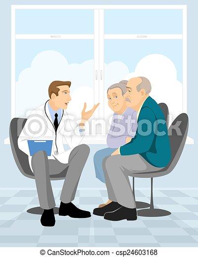 Couple  pensioner in clinic - csp24603168