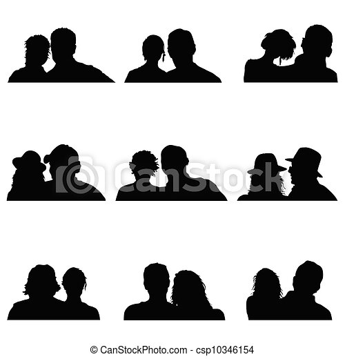 couple people vector silhouette illustration - csp10346154