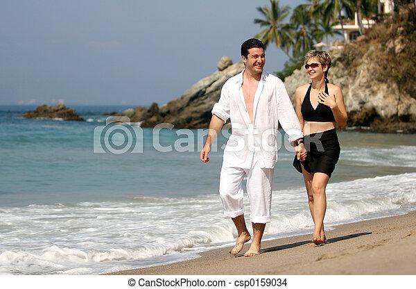 couple, plage - csp0159034
