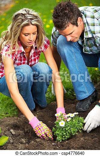 couple planting flowers - csp4776640
