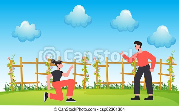 couple playing in the garden - csp82361384