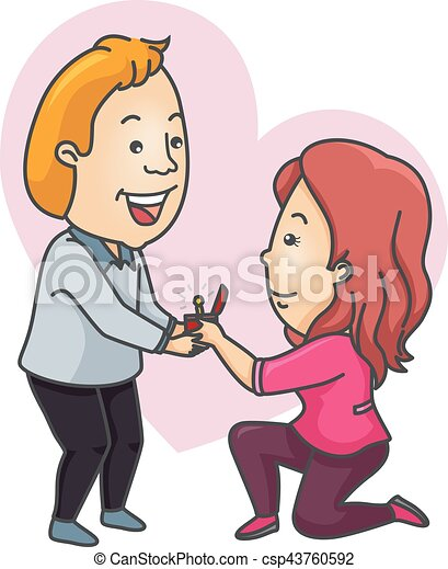 Couple Propose Girl Man Romantic Illustration Of A Woman Eps