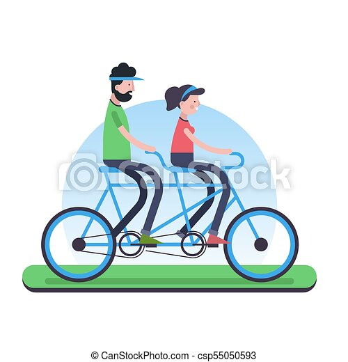 couple riding tandem bike for environment help happy couple eps rh canstockphoto com tandem bike clip art wedding tandem bicycle clipart free