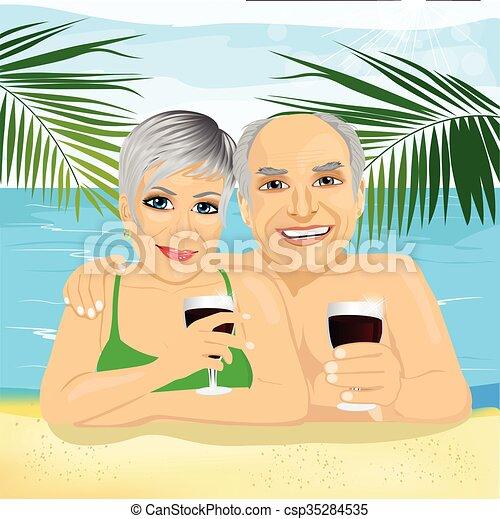 couple, rouges, boire, agréable, plage, personne agee, mensonge, vin - csp35284535