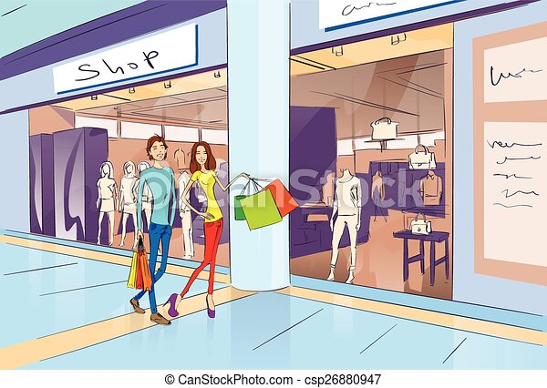 Couple Shopping Man And Woman Walking With Bags In Modern Luxury Shop Mall Center Vector Illustration