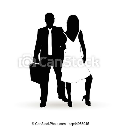 couple silhouette in black and white color illustration - csp44956945