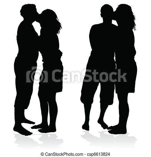 couple silhouette kissing