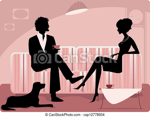 couple, silhouette - csp12778934