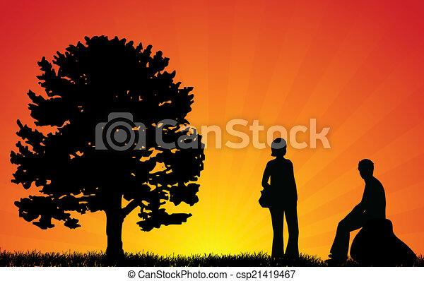 couple silhouettes - csp21419467