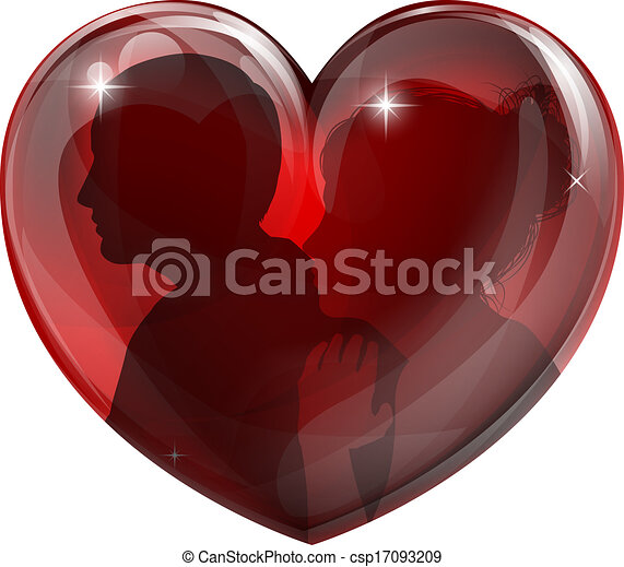 Couple silhouettes heart - csp17093209