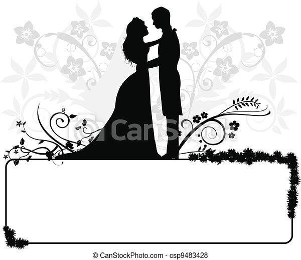 couple, silhouettes, mariage - csp9483428