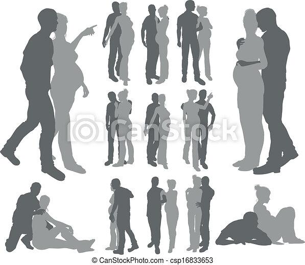 Couple silhouettes pregnant woman - csp16833653