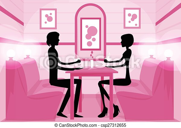 Couple sitting cafe table drink coffee romantic love ...