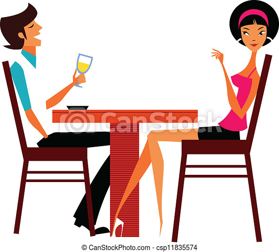 Couple sitting in cafe - csp11835574