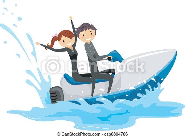 Couple ski jet jet couple ensemble illustration quitation ski - Jet ski dessin ...