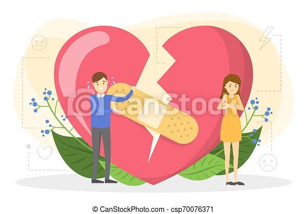 Couple standing at the big red broken heart. - csp70076371
