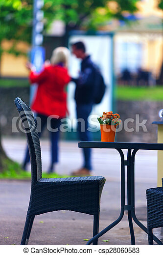 Couple Standing At The Summer Cafe Table With Flowers Summer Cafe - Standing cafe table