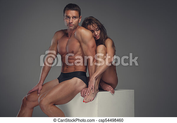couple, studio., poser, fitness - csp54498460