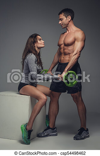 couple, studio., poser, fitness - csp54498462
