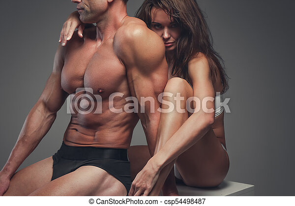 couple, studio., poser, fitness - csp54498487